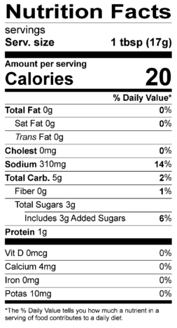 S&F Black Peppercorn Nutrition Label