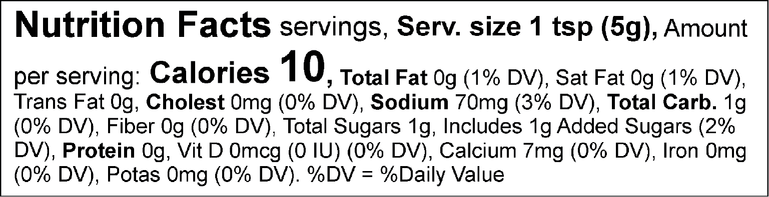 S&F Blue Cheese Mustard Nutrition Label