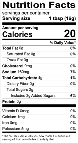 Ginger Teriyaki Nutrition Facts