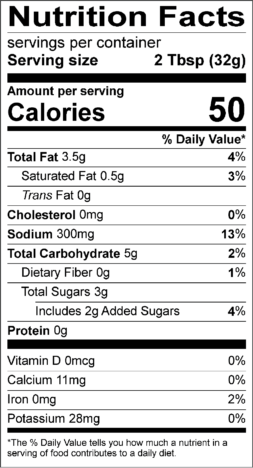 Tequila Lime Sauce Nutrition Facts