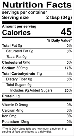 Gluten-Free Teriyaki Nutrition Facts