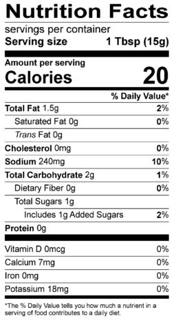 S&F Carne Asada Nutrition Label