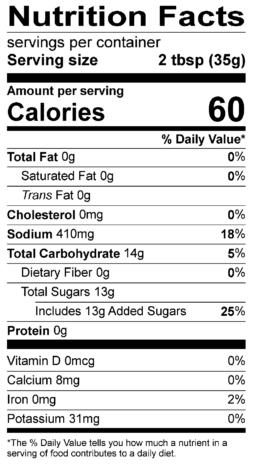 S&F Carolina Gold BBQ Nutrition Label