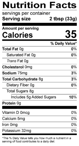 S&F Caribbean Mango Nutrition Label