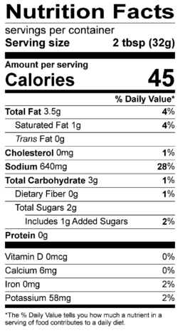 S&F Honey Buffalo Nutrition Label