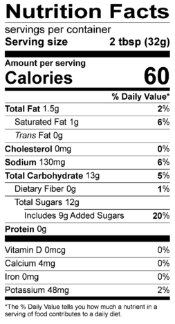 S&F Mango Coconut Habanero Nutrition Label