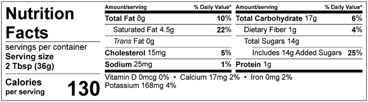 S&F Decadent Fudge Nutrition Label