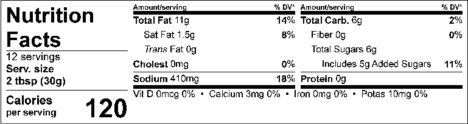 S&F Moss-ness Nutrition Facts