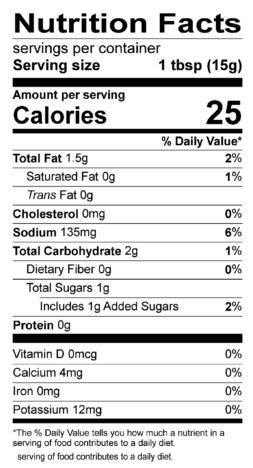 S&F Steakhouse Marinade Nutrition Label