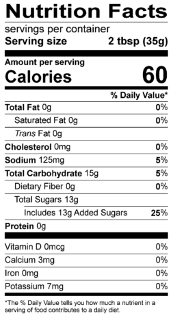 S&F Sweet Chili Nutrition Label