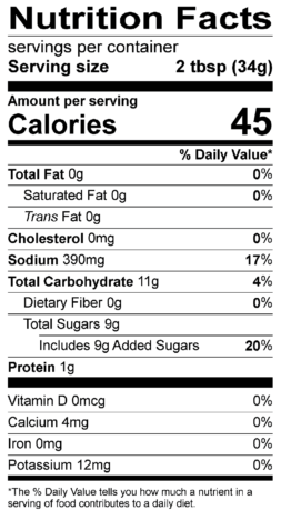 S&F Teriyaki Nutrition Label