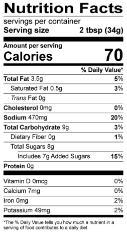 S&F Texas BBQ Nutrition Label