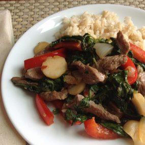 S&F Teriyaki Beef and Spinach Stir Fry Recipe