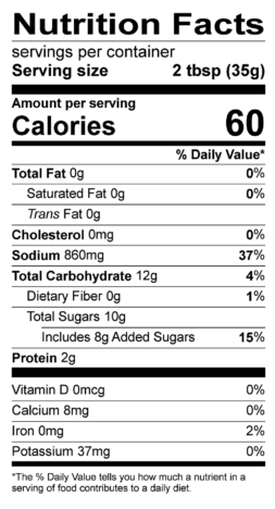 S&F Organic Bourbon Whiskey Nutrition Label
