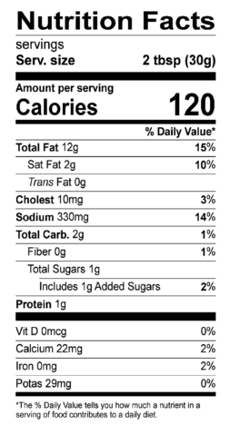 S&F Garlic Parmesan Nutrition Label