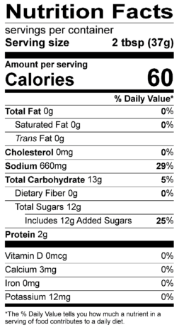 S&F Garlic Teriyaki Nutrition Label