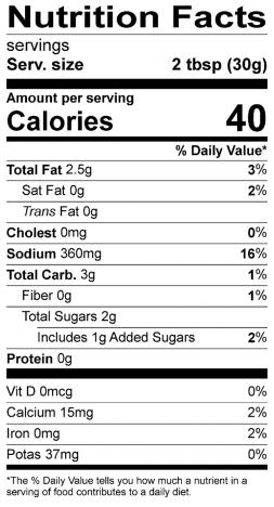 Organic Chimichurri Nutrition Label