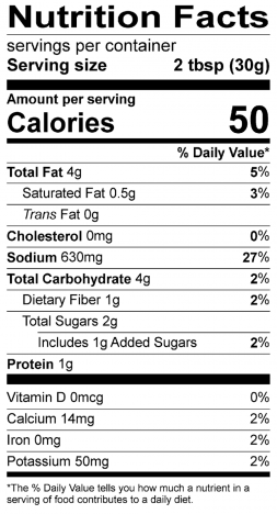 Organic Cowboy Nutrition Label