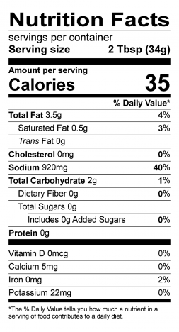 S&F Blazing Buffalo Food Service Sauce Nutrition Label