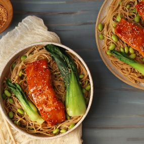 Glazed Salmon, Soba Noodles & Boy Choy