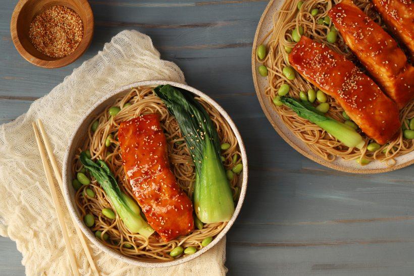 Glazed Salmon, Soba Noodles & Boy Choy