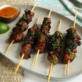 Filipino BBQ Pork Skewers with Mango sauce