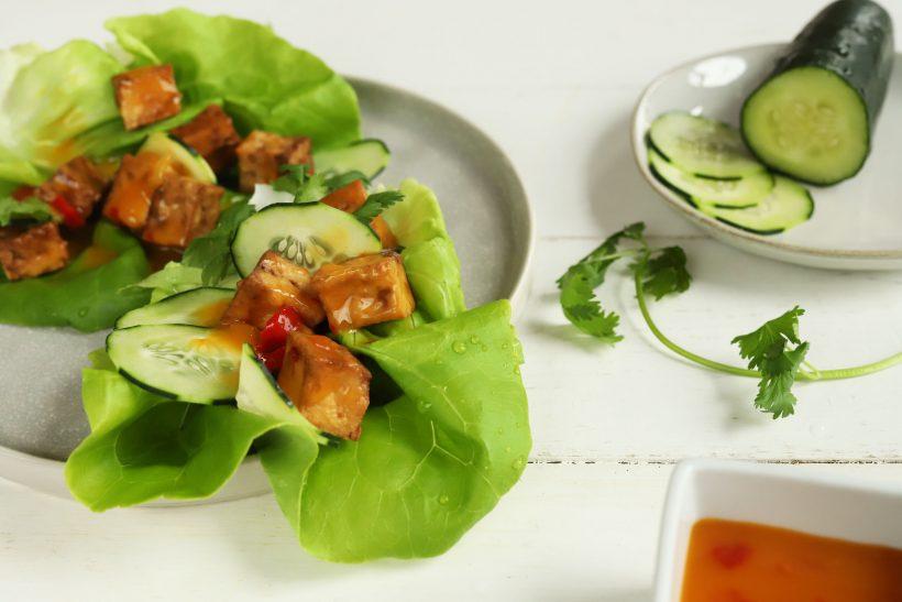 Crispy Air Fried Tofu Lettuce Cups
