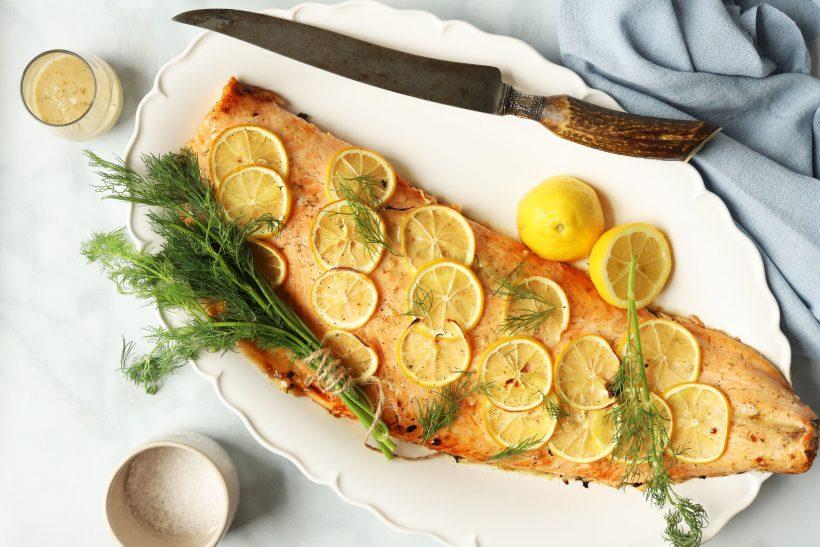 Baked Salmon with Lemon Dill Sauce