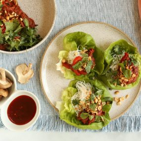 Shredded Pork and Rice Noodle Lettuce Wraps with Sweet Chili Sauce