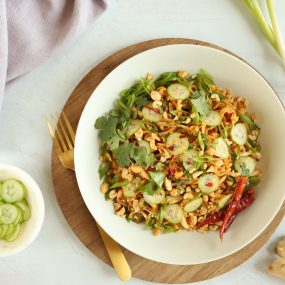 Cold Sesame Rice Noodles with Cucumber