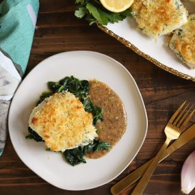 Baked Cod with Wilted Spinach
